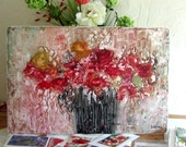"Red Roses in black Vase  ENCAUSTIC ORIGINAL  semi abstract floral  20""x30""   STUDIOSABINE"