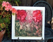 "ENCAUSTIC ORIGINAL Red Flowers - semi abstract floral with Gold Leaf 12""x12""  STUDIOSABINE"