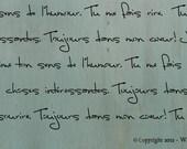 Old Script Stencil 1- French phrases of adoration and love. - WallMasqueStencilCo