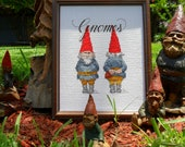 Gnome  cross stitch needlecraft art by All that is Counted on Upcycle Fever