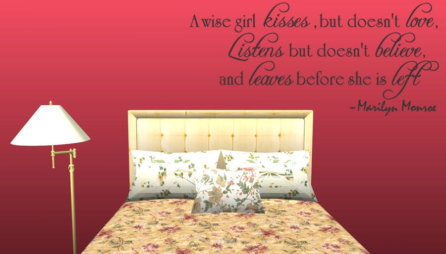 A Wise Girl Marilyn Monroe Quote Vinyl Wall by WallStickersDecals