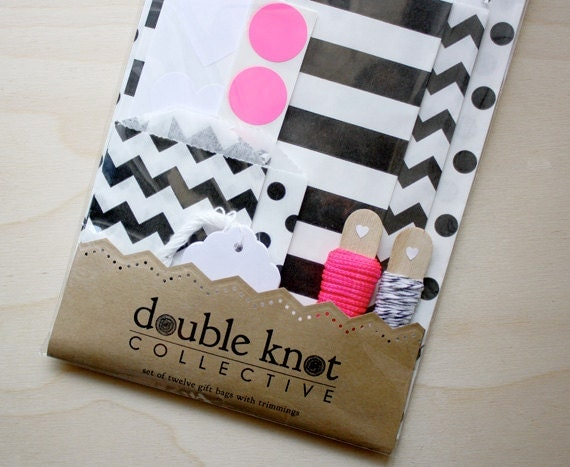 Set of 12 Gift Bags - Black, white and neon pink - Chevron, Stripes and Polka Dots