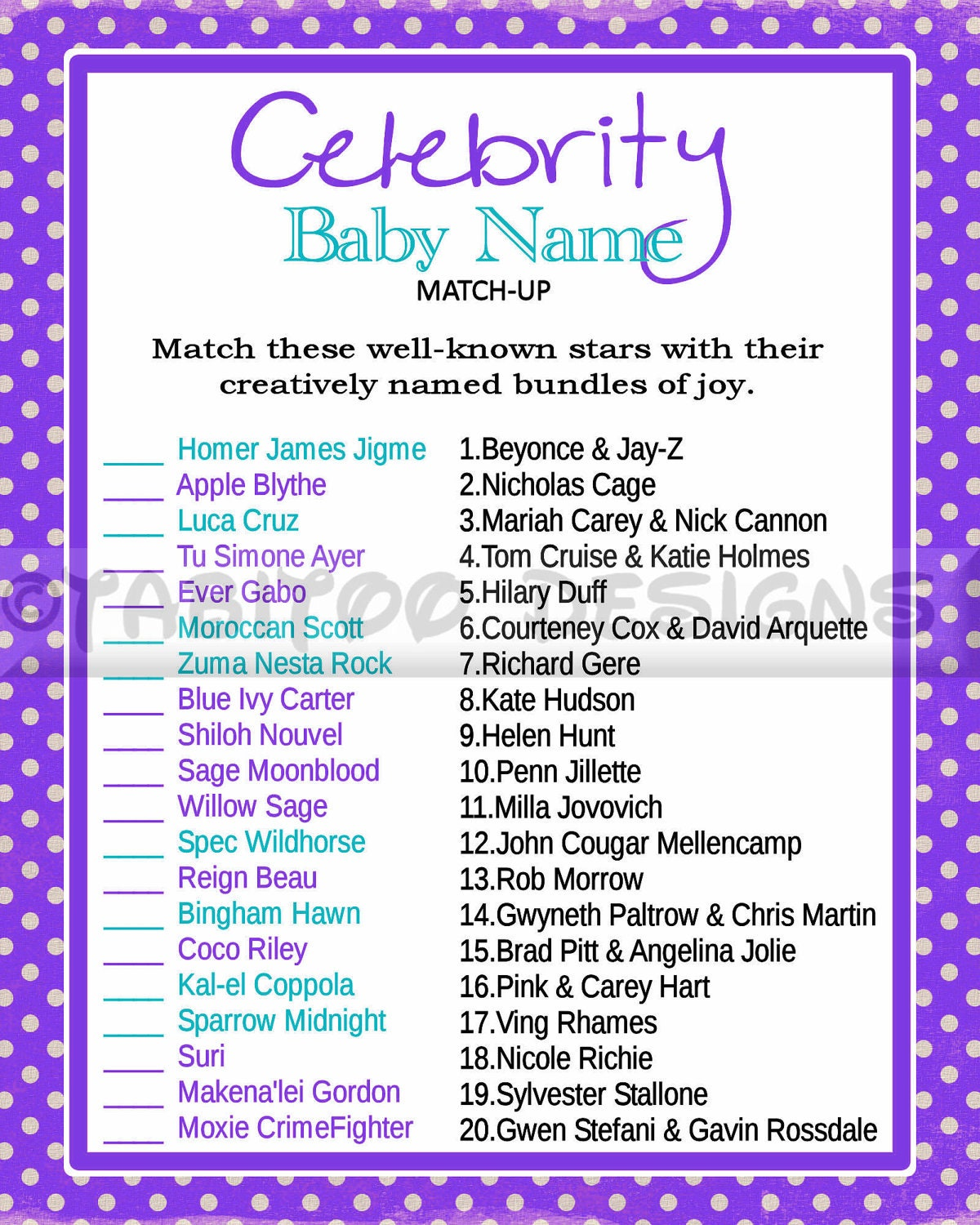It is an image of Celebrity Baby Name Game Printable within baby shower