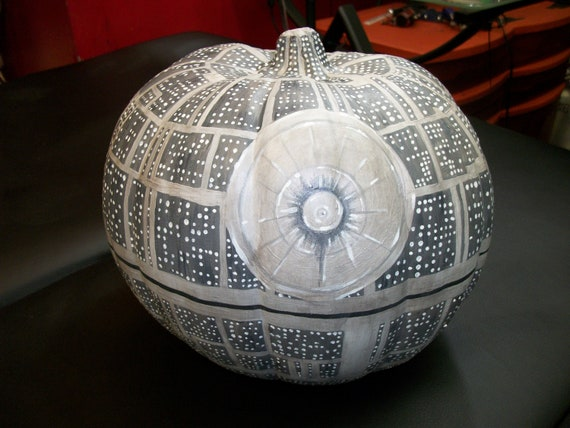 Death Star styled (fake) pumpkin - UV reactive & glow-in-the-dark details