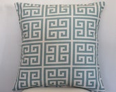 Pillow Decorative Throw Pillow Covers Accent Pillows Cushion Covers 16 x 16 inches Blue on Natural Greek Key