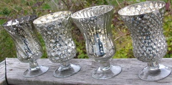 20 SILVER MERCURY GLASS Style Vases Assorted Pedestal Footed Christmas Vintage Wedding Pewter Chrome Hurricane Vase Goblets Candle Holder