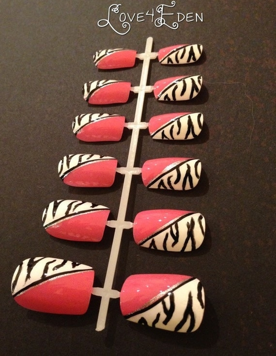 Hot Pink Zebra Fake Nail Set