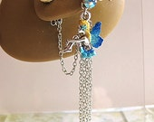 Lovely Light Blue Sitting Fairy Ear Cuff And Pearl Stud Romance Fae Faerie Fay Fantasy Dreams Elegant Feminine Ear Vine