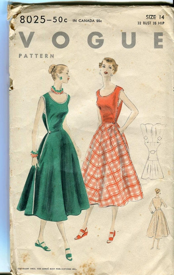 Vogue 8025 Vintage 50s  Walk-Away Dress Pattern - Factory Folded