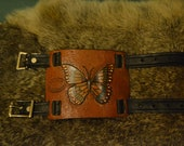 Tooled Butterfly Leather Wrist Cuff - XtreamLeatherworks