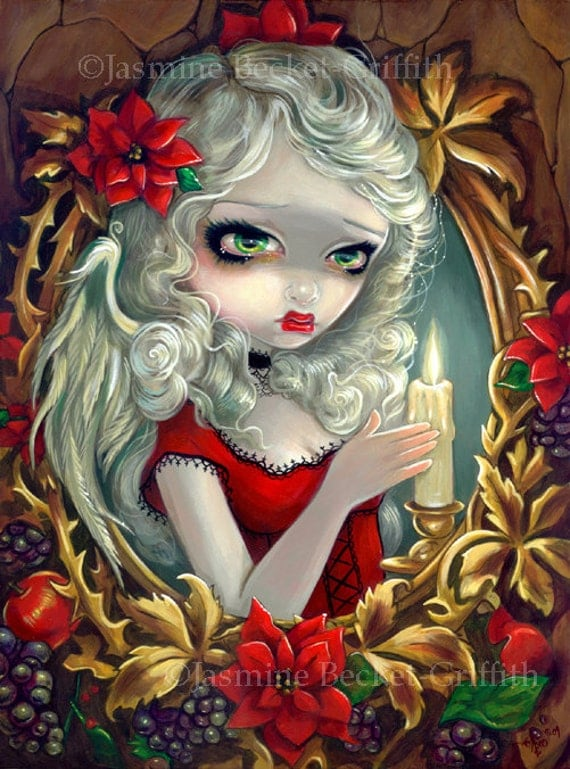 Christmas Candle holiday angel fairy art print by Jasmine Becket-Griffith 8x10