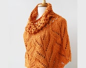 Women's Fashion - Pumpkin Orange Botanical Lace Knit Capelet- Bamboo and Silk - ElenaRosenberg