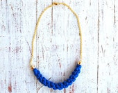 Royal Blue textile Necklace with golden chain - Sashetta