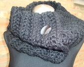 BlackCowl - Crochet Scarf Neckwarmer From KnottyLoop