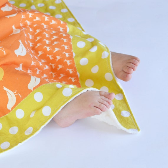 Small Patchwork Blanket with Minky for Unisex Baby Tangerine Orange Oh Deer