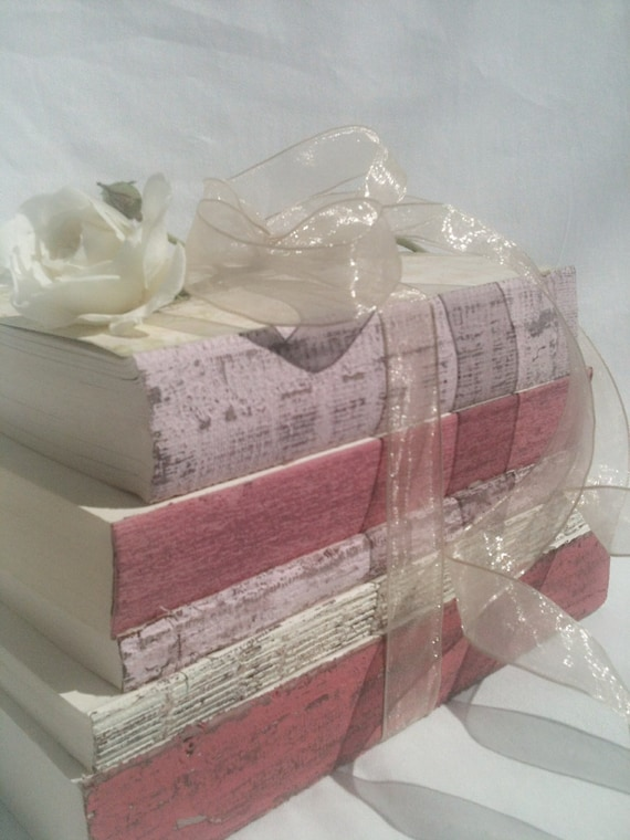 Pink Wedding Centerpiece,Princess Wedding,Pink Decor,Pink Books,French, Shabby Chic, Cottage Decor, Wedding Photo Prop