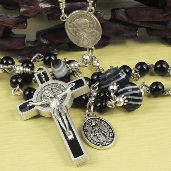 Catholid Rosary by AbbeyForge St. Benedict theme with Black Agate Gemstone