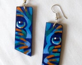 Striped Tiger Earrings - hand-painted blue & orange on wood with sterling silver wire