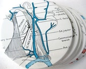 Human Body Diagram Coasters // Recycled Vintage Medical Book