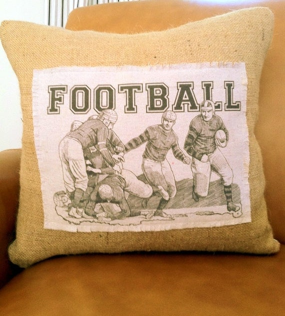 Football Players Burlap 18x18  Decorative Pillow Cover, Throw Pillow ,Toss Pillow, Accent Pillow