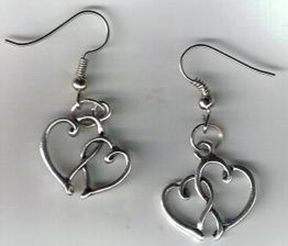 Tibetan Silver Lovers Double Open Heart French by FaerieCharsWeb