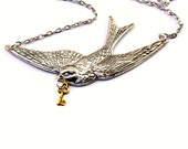 Neo Victorian Swallow Necklace - Beautiful Soaring Bird Design with tiny Golden Skeleton Key - Steampunk Jewelry PROMPTLY SHIPPED
