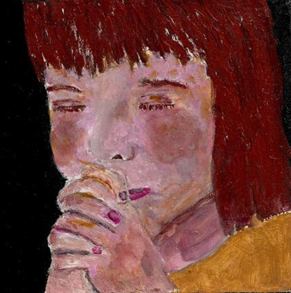 Acrylic Portrait Painting Girl Praying Religious Spiritual Prayer Praying Hands 6x6 canvas board No 11
