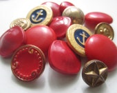 Vintage Buttons - Cottage chic mix of red, gold and blue, acrylic and metal lot of 15, old and sweet -  (4163) - pillowtalkswf