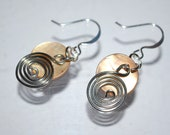 Wire and shell earrings-natural color shell earrings with wire swirls--beach wear-inexpensive gift for her - Designami