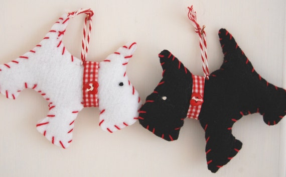 Scottie Dogs - Black and White Pair of Buddies Hanging Decoration - Alternative Christmas Decoration