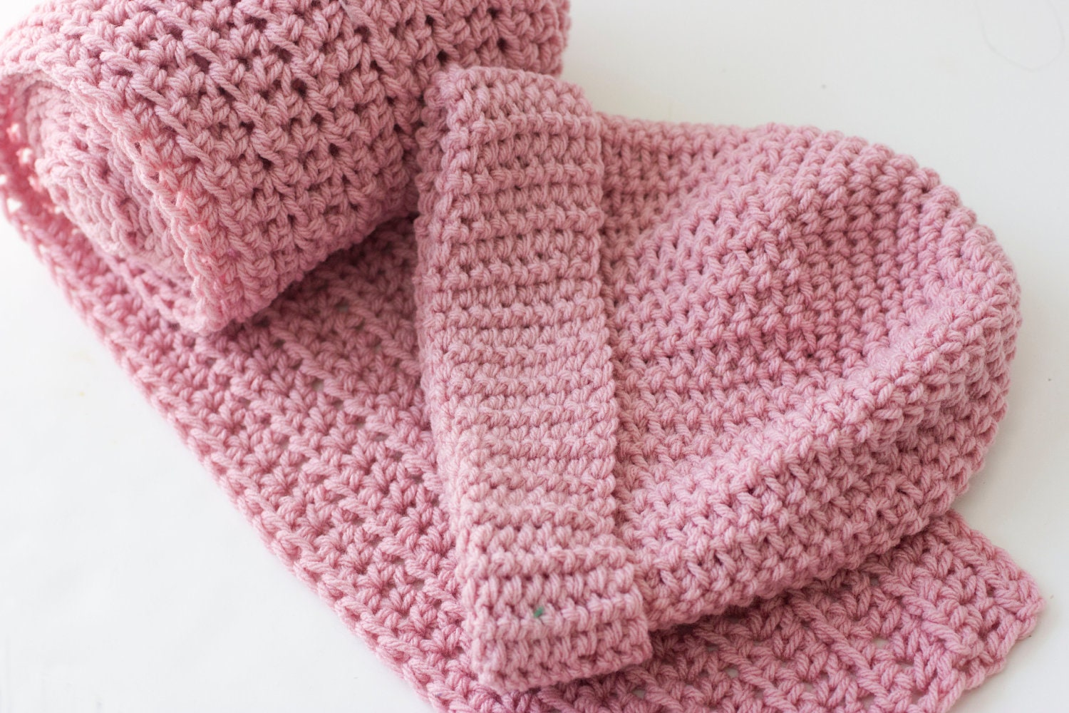 Pink Hat Scarf Set Crochet Hat and Matching Scarf Vegan Winter  Crochet Hats And Scarves For Kids