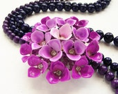 Jewel Tone purple ombre flower statement necklace - detachable vintage repurposed OOAK plum violet flower brooch statement necklace
