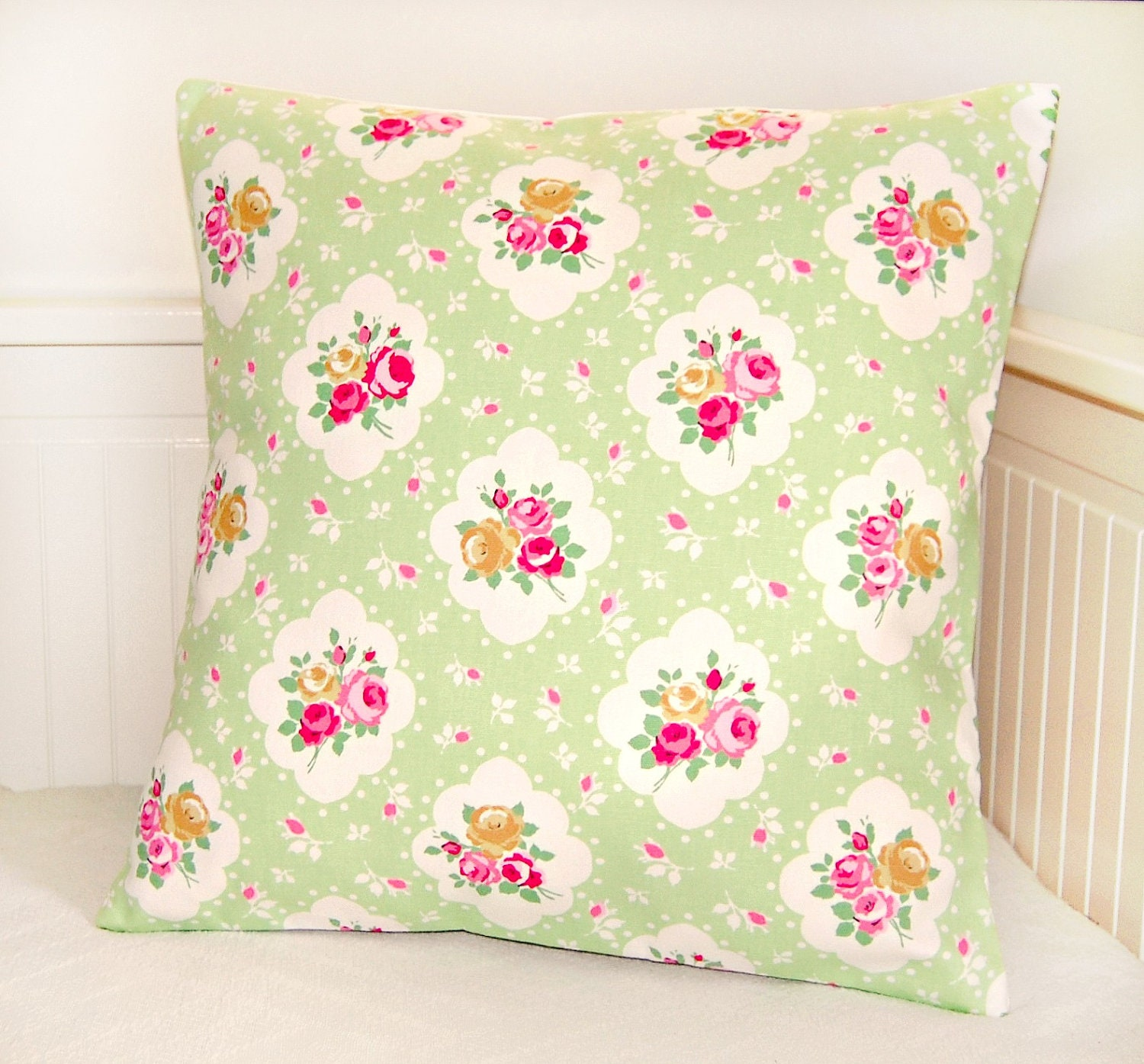 vintage shabby chic style apple green pink by LittleJoobieBoo
