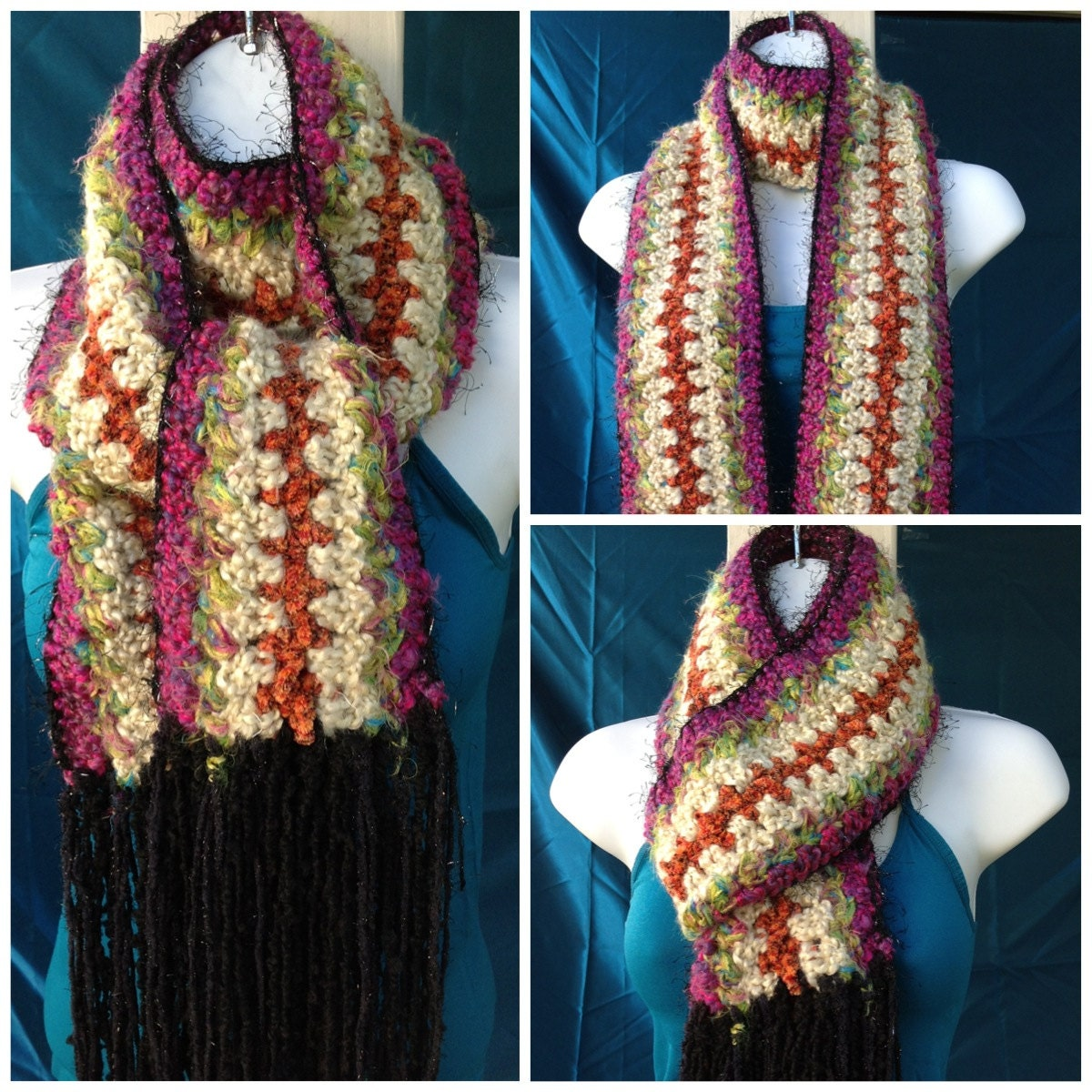 Multi Color Crochet Scarf by anchalee on Etsy Crochet Scarf Two Colors