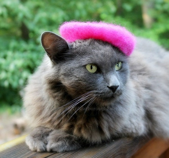 French Cat Beret - Pink Flambe Wool Felted Beret