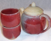 cone 10 red teapot set