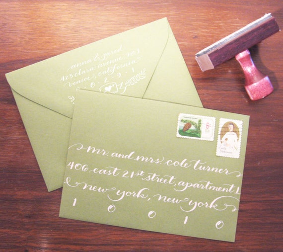 Custom Monogram Banner rubber address stamp