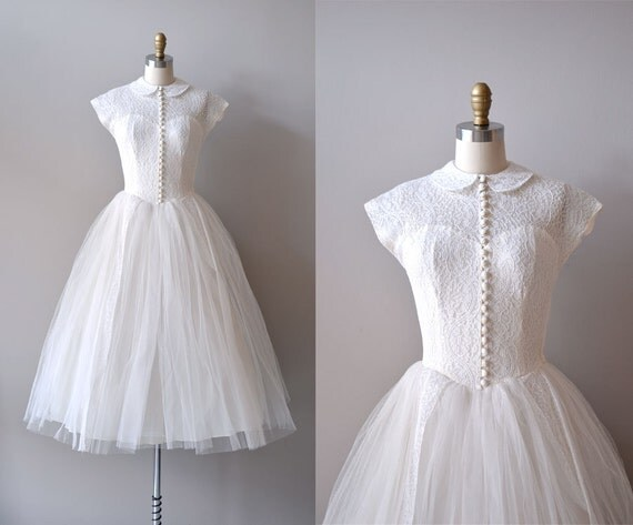 lace 50s wedding dress / 1950s dress / If Fates Allow