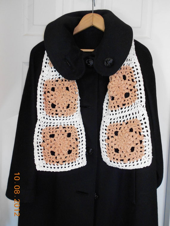 Crochet Chenille Scarf, Warm Winter Scarf. SnowFlake Scarf   Great Gift