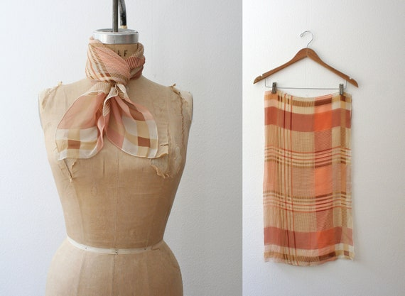 vintage plaid scarf / chiffon scarf / peach plaid