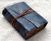 Blue Bayou - Distressed Blue Leather Journal, Tea Stained Pages, Vintage Sheet Music & Vintage Ticking Fabric