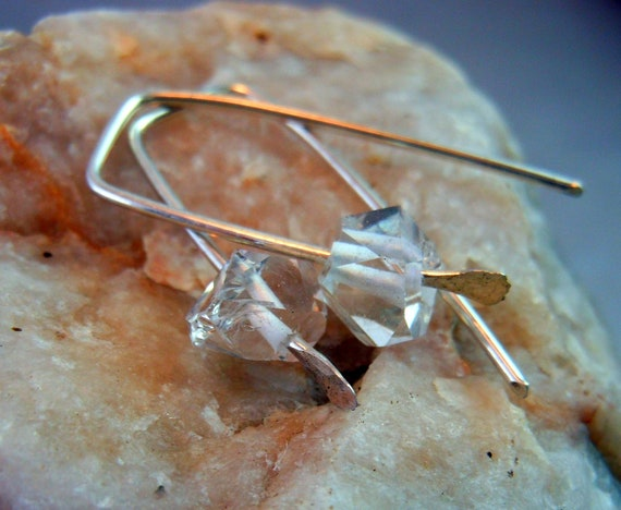 Herkimer Diamonds.  Sterling Silver Earrings. Modern Trendy Jewelry.
