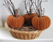 Crocheted Pumpkins Fall Decor Autumn Decorations Fall Decorations Thanksgiving Rustic Country Decor Farmhouse Decor  Set of Three - dlf724