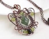 Copper wire wrap jewelry, green peridot necklace, handmade olive green necklace, peridot copper necklace, handmade copper jewelry - CreativityJewellery