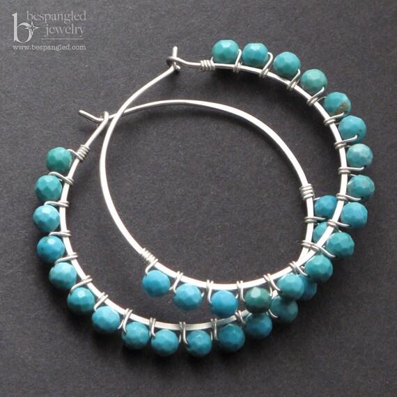 Turquoise boho wirewrapped medium silver hoop earrings