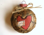 Joy Ornament - Rustic Christmas Ornament - Glass Ornament - Recycled Paper - Repurposed - ElvesInTheAttic