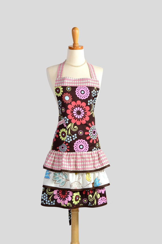 Ruffled Retro Apron . Flirty Full Womens Apron in Large Geometric Floral Designs on Brown With Dots Trim