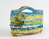 Blue and Yellow Crocheted Purse / Tote ... By Odaam ... TAGT team - odpaam