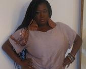 Leoni - Posh N Petals Knit  Copper Sequin  Embellished Box Top  Blouse XL- 1 X  Plus Size
