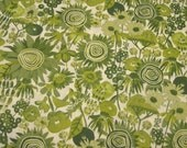 Cotton Fabric: Floral Cotton In the Beginning My Sunshine Green Tonal Flowers - 1 YD - FabricFascination